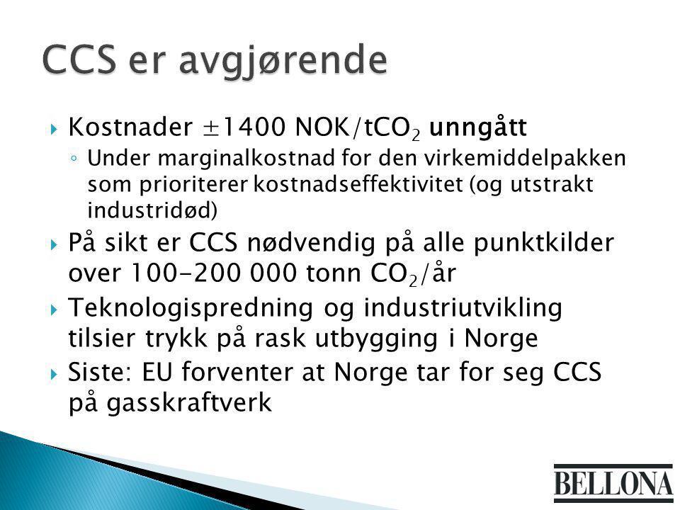  Kostnader ±1400 NOK/tCO 2 unngått ◦ Under marginalkostnad for den virkemiddelpakken som prioriterer kostnadseffektivitet (og utstrakt industridød) 