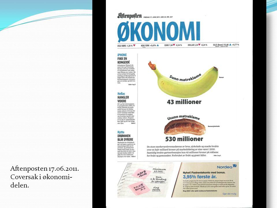 Aftenposten 17.06.2011. Coversak i økonomi- delen.