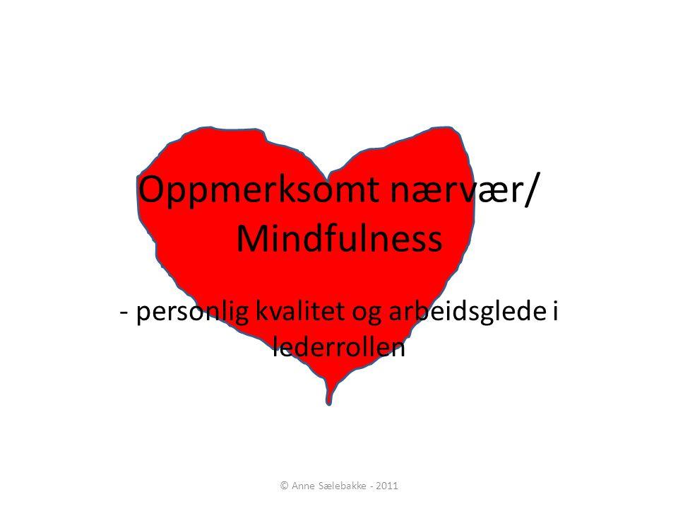 Oppmerksomt nærvær/ Mindfulness - personlig kvalitet og arbeidsglede i lederrollen © Anne Sælebakke - 2011