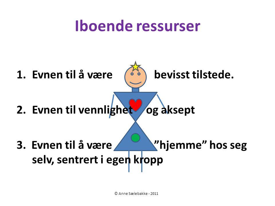 """Iboende ressurser © Anne Sælebakke - 2011 1.Evnen til å være bevisst tilstede. 2.Evnen til vennlighet og aksept 3. Evnen til å være """"hjemme"""" hos seg s"""