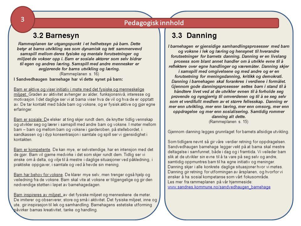 Pedagogisk innhold 3 3.2 Barnesyn Rammeplanen tar utgangspunkt i et helhetssyn på barn.