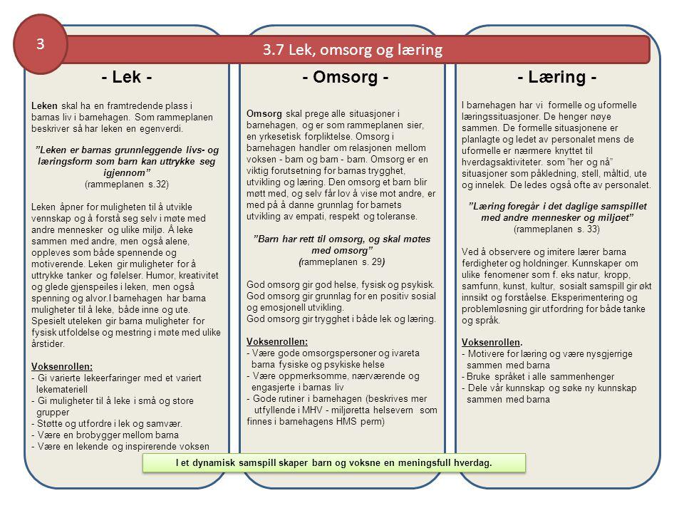 3.7 Lek, omsorg og læring 3 I et dynamisk samspill skaper barn og voksne en meningsfull hverdag.