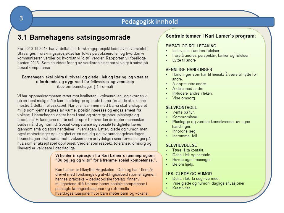Pedagogisk innhold Sentrale temaer i Kari Lamer`s program: EMPATI OG ROLLETAKING • Innlevelse i andres følelser.