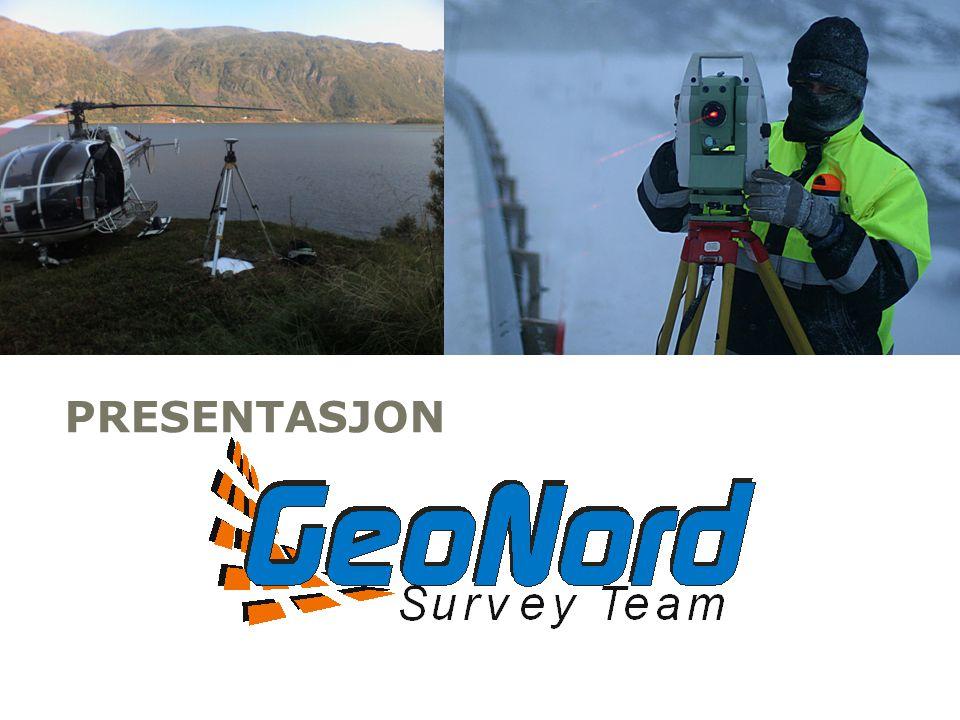 FAGOMRÅDER 1.Eiendom/ Matrikkel 2.Bygg og anlegg 3.Sjømåling 4.Skanning 5.Geodesi 6.Kart- og geodata FAKTA •9 ingeniører/ teknikere •Kranbil m/ målebåt •Multistråle sonar •Lett seismikk for sjøbunn •ROV- miniubåt •Leica GPS og totalstasjoner •Mobil laserskanner •Bakkebasert laserskanner