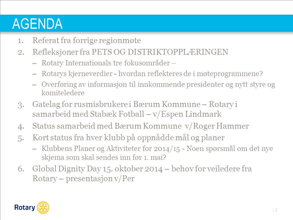 | 2 AGENDA 1.Referat fra forrige regionmøte 2.Refleksjoner fra PETS OG DISTRIKTOPPLÆRINGEN – Rotary Internationals tre fokusområder – – Rotarys kjerneverdier - hvordan reflekteres de i møteprogrammene.