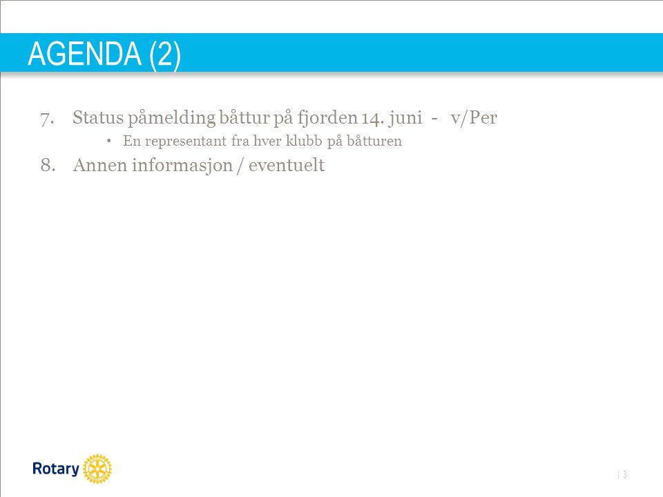 | 3 AGENDA (2) 7. Status påmelding båttur på fjorden 14. juni - v/Per • En representant fra hver klubb på båtturen 8. Annen informasjon / eventuelt