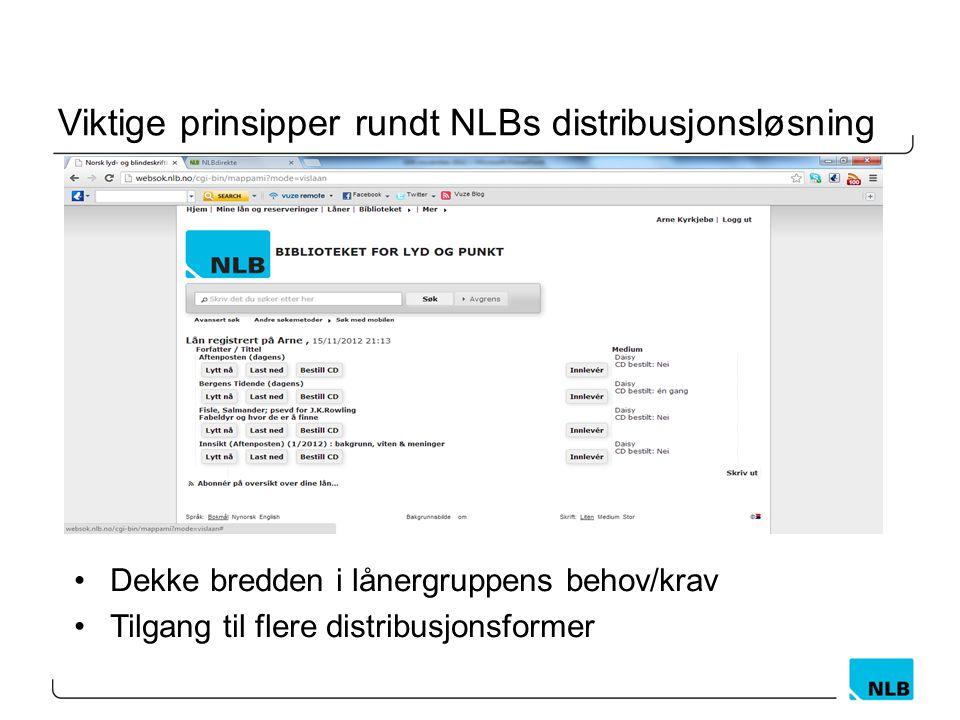 Viktige prinsipper rundt NLBs distribusjonsløsning •Dekke bredden i lånergruppens behov/krav •Tilgang til flere distribusjonsformer