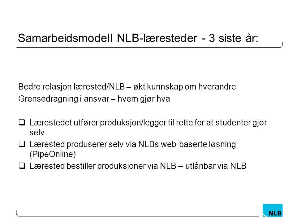Samarbeidsmodell NLB-læresteder - 3 siste år: Bedre relasjon lærested/NLB – økt kunnskap om hverandre Grensedragning i ansvar – hvem gjør hva  Lærest