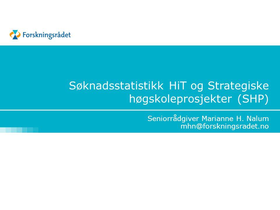 Seniorrådgiver Marianne H. Nalum mhn@forskningsradet.no Søknadsstatistikk HiT og Strategiske høgskoleprosjekter (SHP)