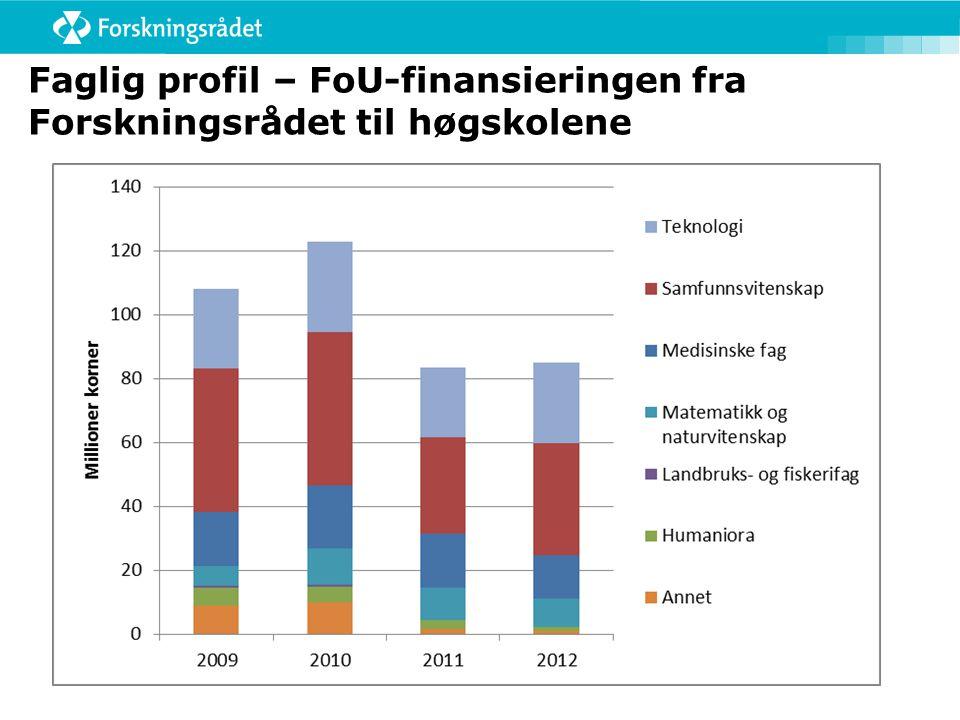 Faglig profil – FoU-finansieringen fra Forskningsrådet til høgskolene