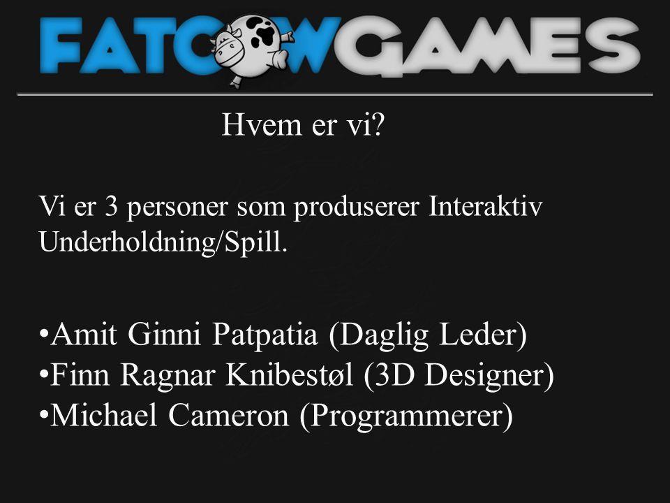 Hvem er vi? Vi er 3 personer som produserer Interaktiv Underholdning/Spill. • Amit Ginni Patpatia (Daglig Leder) • Finn Ragnar Knibestøl (3D Designer)