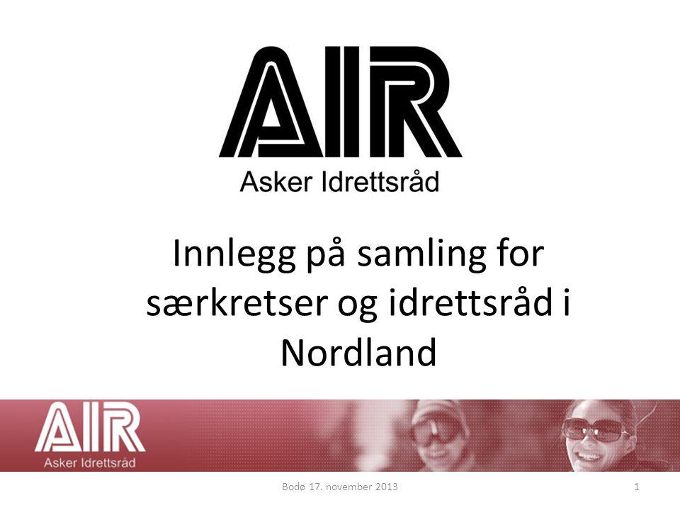 Innlegg på samling for særkretser og idrettsråd i Nordland Bodø 17. november 20131