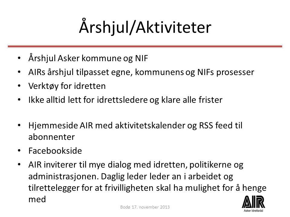 Årshjul/Aktiviteter • Årshjul Asker kommune og NIF • AIRs årshjul tilpasset egne, kommunens og NIFs prosesser • Verktøy for idretten • Ikke alltid let
