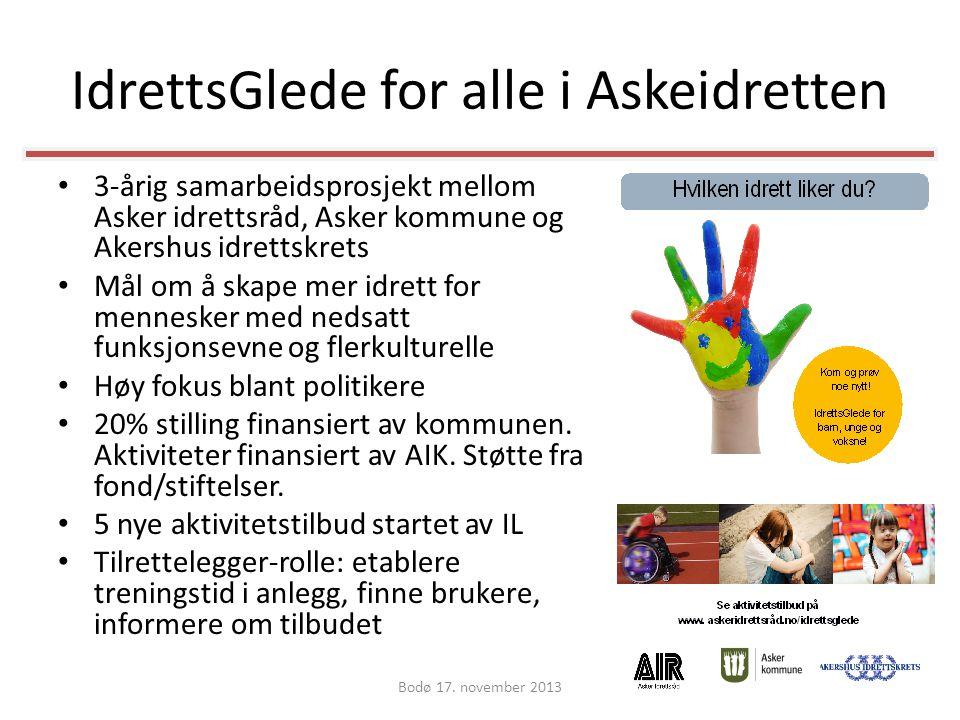 IdrettsGlede for alle i Askeidretten • 3-årig samarbeidsprosjekt mellom Asker idrettsråd, Asker kommune og Akershus idrettskrets • Mål om å skape mer