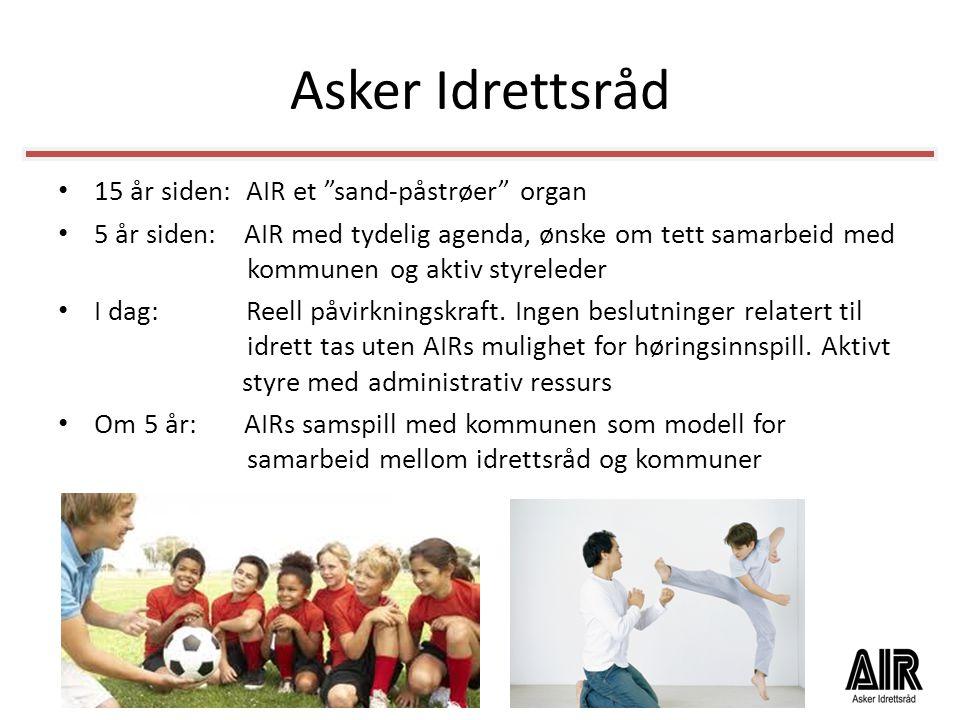 """Asker Idrettsråd • 15 år siden: AIR et """"sand-påstrøer"""" organ • 5 år siden: AIR med tydelig agenda, ønske om tett samarbeid med kommunen og aktiv styre"""