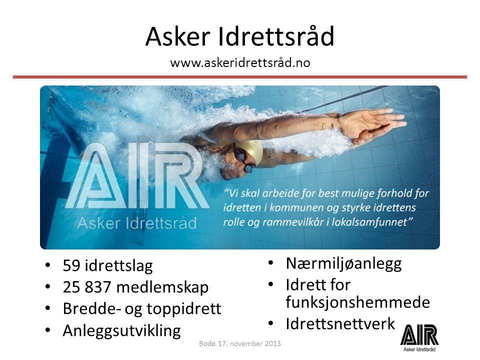 Asker Idrettsråd www.askeridrettsråd.no • 59 idrettslag • 25 837 medlemskap • Bredde- og toppidrett • Anleggsutvikling Bodø 17. november 2013 • Nærmil