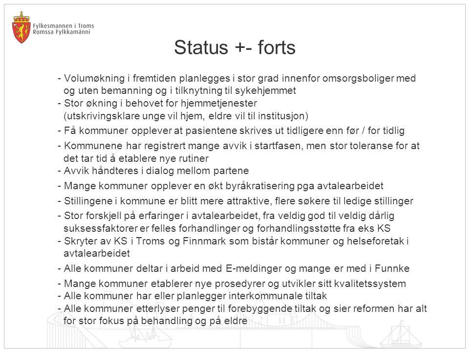 Status +- forts - Volumøkning i fremtiden planlegges i stor grad innenfor omsorgsboliger med og uten bemanning og i tilknytning til sykehjemmet - Stor