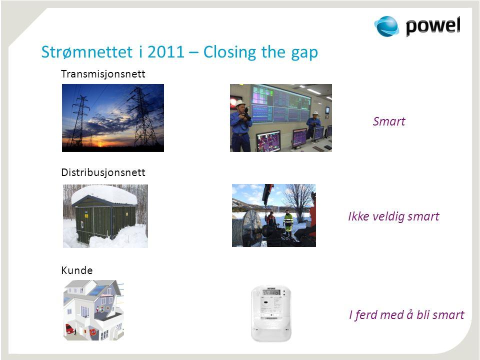 Strømnettet i 2011 – Closing the gap Transmisjonsnett Smart Distribusjonsnett Ikke veldig smart Kunde I ferd med å bli smart