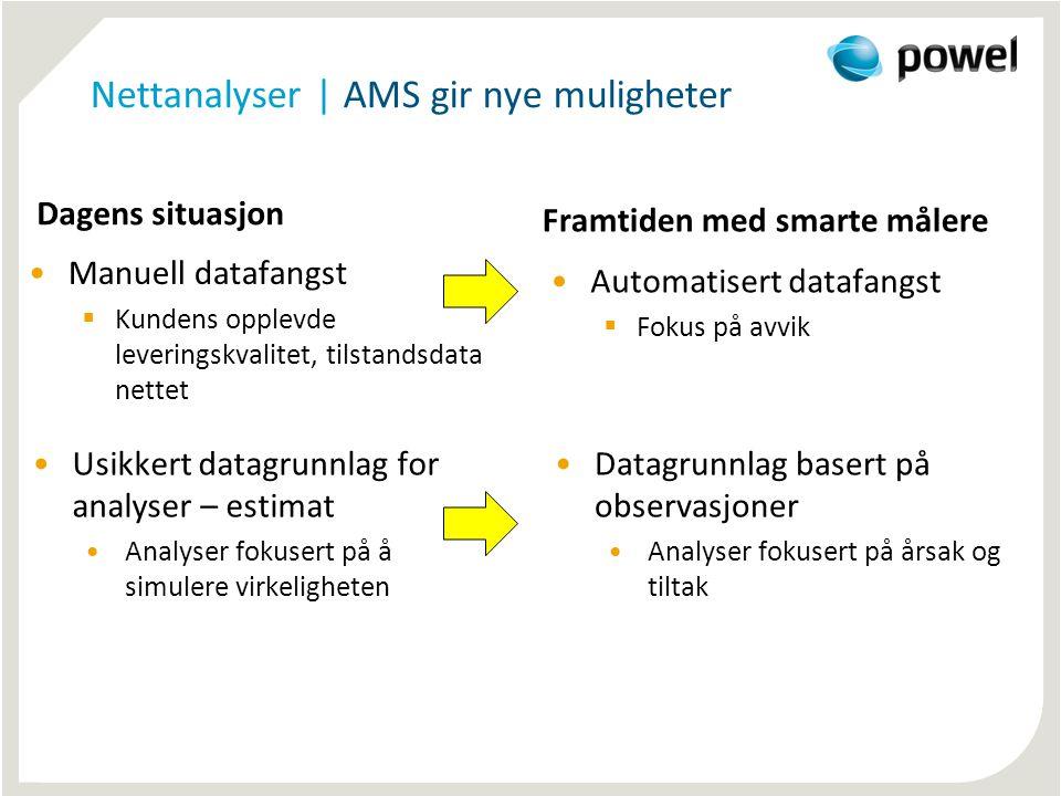 Nettanalyser | AMS gir nye muligheter Dagens situasjon •Manuell datafangst  Kundens opplevde leveringskvalitet, tilstandsdata nettet Framtiden med sm