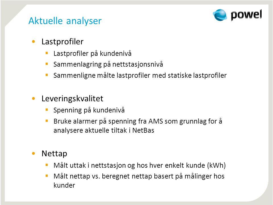 Aktuelle analyser •Lastprofiler  Lastprofiler på kundenivå  Sammenlagring på nettstasjonsnivå  Sammenligne målte lastprofiler med statiske lastprof