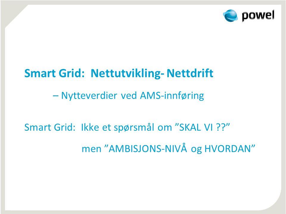 """Smart Grid: Nettutvikling- Nettdrift – Nytteverdier ved AMS-innføring Smart Grid: Ikke et spørsmål om """"SKAL VI ??"""" men """"AMBISJONS-NIVÅ og HVORDAN"""""""