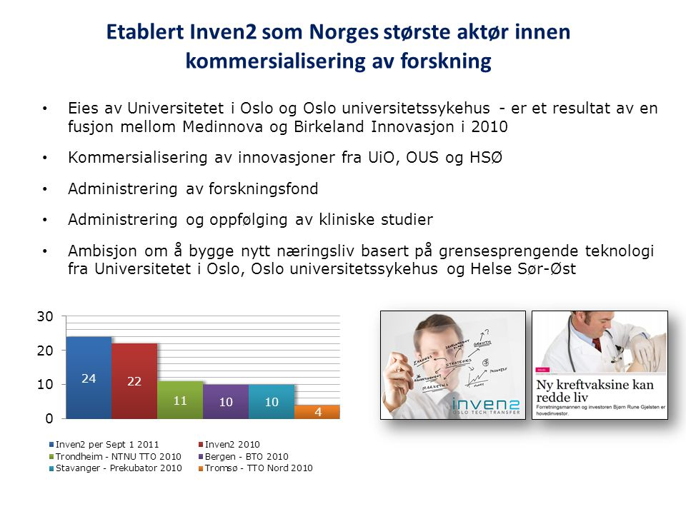 Etablert Inven2 som Norges største aktør innen kommersialisering av forskning • Eies av Universitetet i Oslo og Oslo universitetssykehus - er et resul