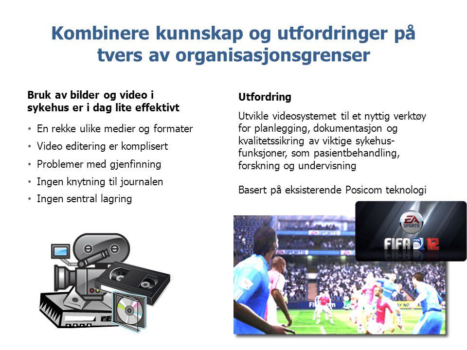 Kombinere kunnskap og utfordringer på tvers av organisasjonsgrenser Utfordring Utvikle videosystemet til et nyttig verktøy for planlegging, dokumentas