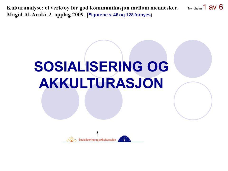 Trondheim 1 av 6 Kulturanalyse: et verktøy for god kommunikasjon mellom mennesker. Magid Al-Araki, 2. opplag 2009. [ Figurene s. 46 og 128 fornyes ] S