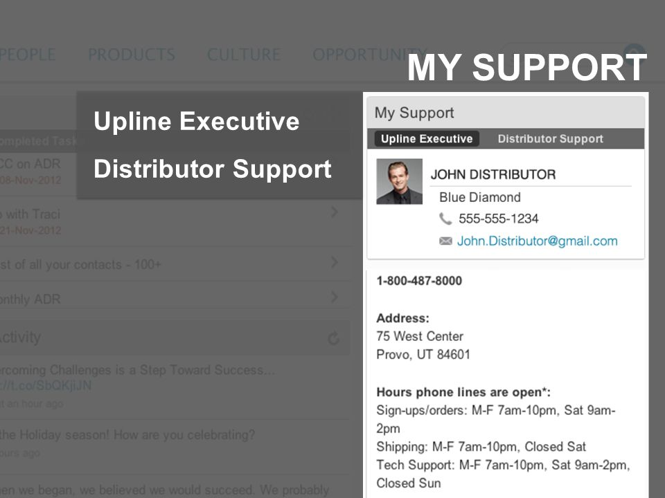 MY SUPPORT Upline Executive Distributor Support