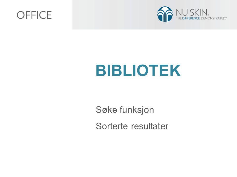 BIBLIOTEK Søke funksjon Sorterte resultater
