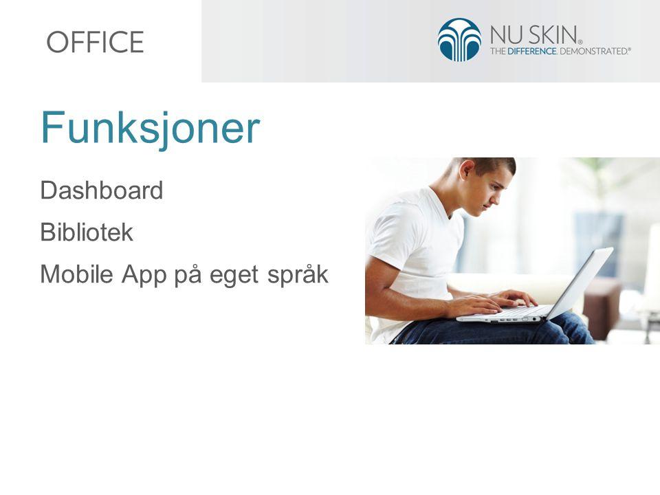 Dashboard Bibliotek Mobile App på eget språk Funksjoner