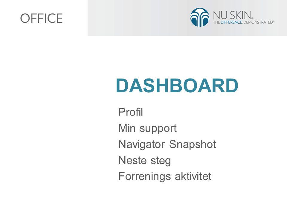 DASHBOARD Profil Min support Navigator Snapshot Neste steg Forrenings aktivitet