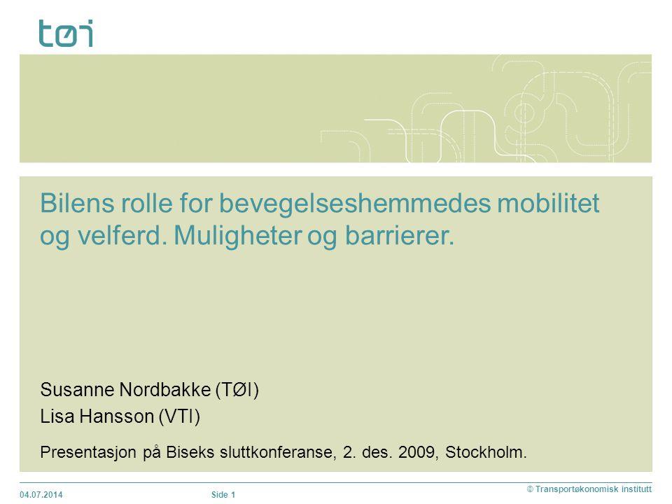 Bakgrunn  Litteraturstudie finansiert av BISEK: Få studier som omhandler bilens rolle for yngre funksjonshemmedes mobilitet (Nordbakke 2006)  Noen studier av funksjonshemmedes bruk av kollektivtransport  En del studier om problemer med å bevege seg utendørs og med å bruke kollektivtransport.