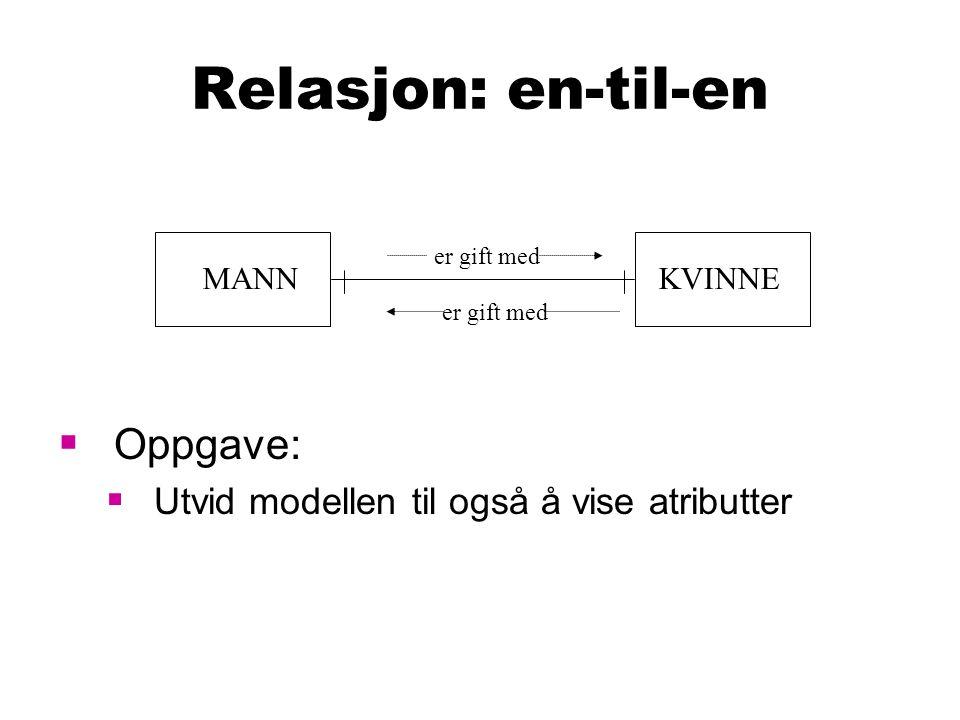 Relasjon: en-til-en  Oppgave:  Utvid modellen til også å vise atributter MANNKVINNE er gift med