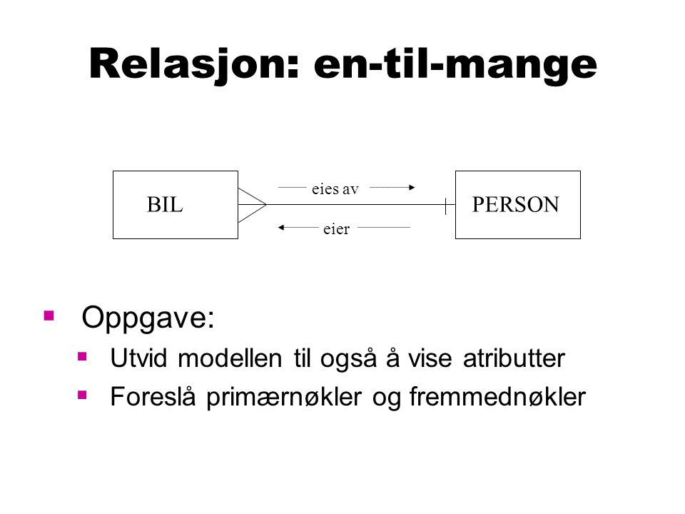 Relasjon: en-til-mange  Oppgave:  Utvid modellen til også å vise atributter  Foreslå primærnøkler og fremmednøkler BILPERSON eies av eier