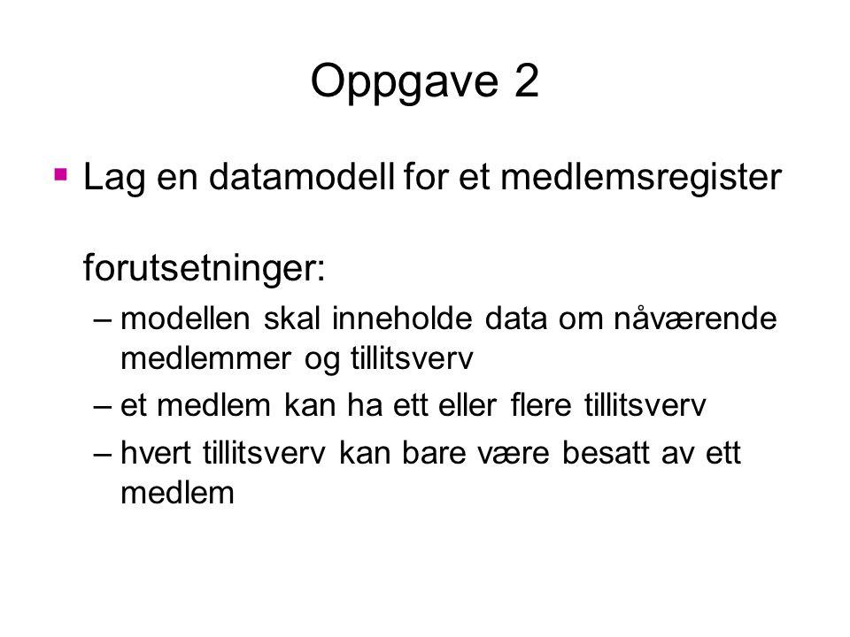 Oppgave 2  Lag en datamodell for et medlemsregister forutsetninger: –modellen skal inneholde data om nåværende medlemmer og tillitsverv –et medlem kan ha ett eller flere tillitsverv –hvert tillitsverv kan bare være besatt av ett medlem
