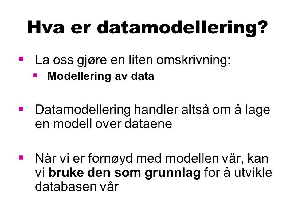 Hva er datamodellering?  La oss gjøre en liten omskrivning:  Modellering av data  Datamodellering handler altså om å lage en modell over dataene 