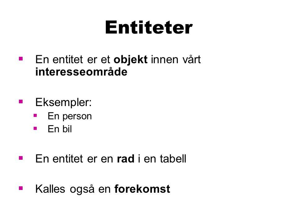 Entiteter  En entitet er et objekt innen vårt interesseområde  Eksempler:  En person  En bil  En entitet er en rad i en tabell  Kalles også en forekomst