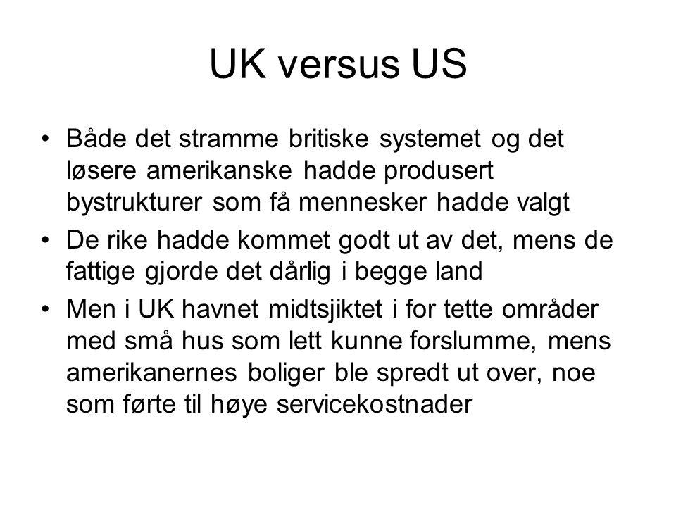 UK versus US •Både det stramme britiske systemet og det løsere amerikanske hadde produsert bystrukturer som få mennesker hadde valgt •De rike hadde ko