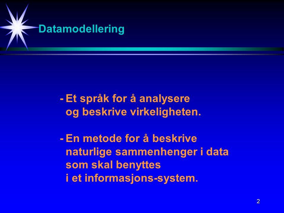 2 Datamodellering -Et språk for å analysere og beskrive virkeligheten.