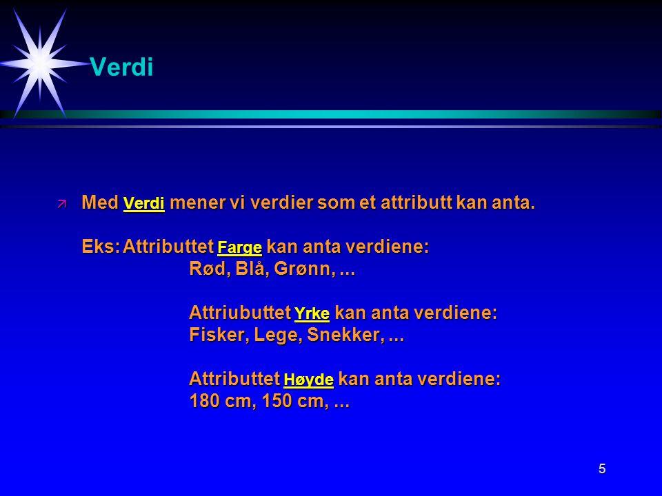 5 Verdi ä Med Verdi mener vi verdier som et attributt kan anta.
