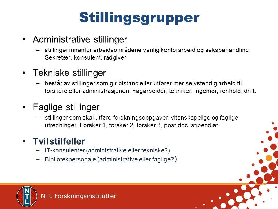Stillingsgrupper •Administrative stillinger –stillinger innenfor arbeidsområdene vanlig kontorarbeid og saksbehandling.