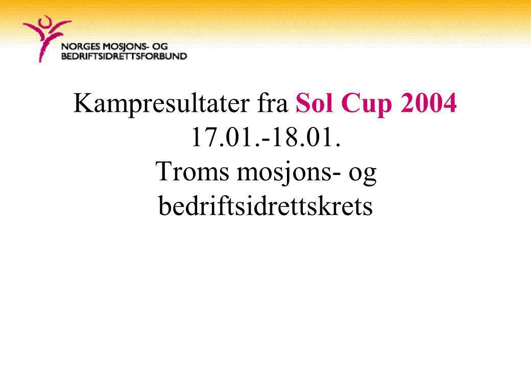 Kampresultater fra Sol Cup 2004 17.01.-18.01. Troms mosjons- og bedriftsidrettskrets