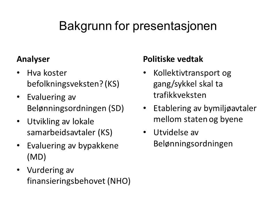 Bakgrunn for presentasjonen Analyser • Hva koster befolkningsveksten? (KS) • Evaluering av Belønningsordningen (SD) • Utvikling av lokale samarbeidsav