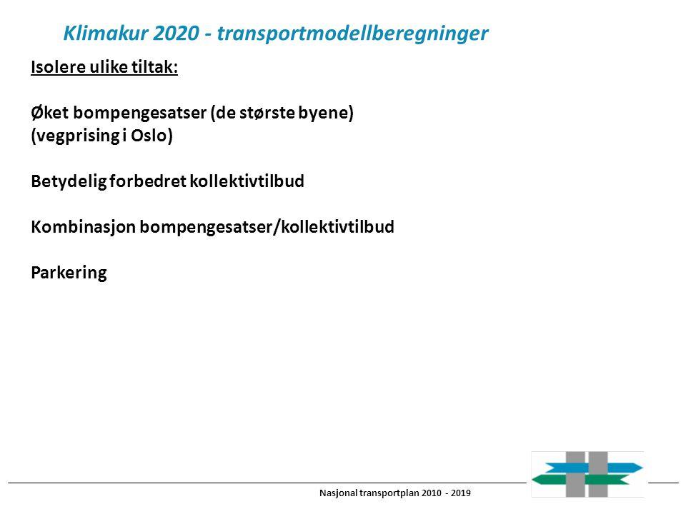 Nasjonal transportplan 2010 - 2019 Klimakur 2020 - transportmodellberegninger Isolere ulike tiltak: Øket bompengesatser (de største byene) (vegprising i Oslo) Betydelig forbedret kollektivtilbud Kombinasjon bompengesatser/kollektivtilbud Parkering