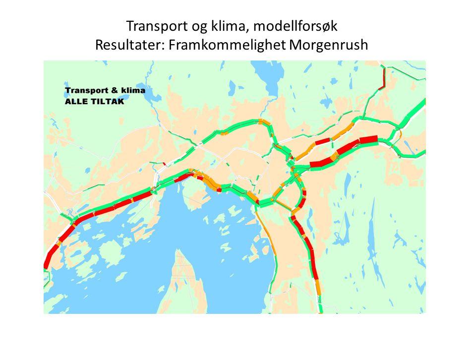 Transport og klima, modellforsøk Resultater: Framkommelighet Morgenrush
