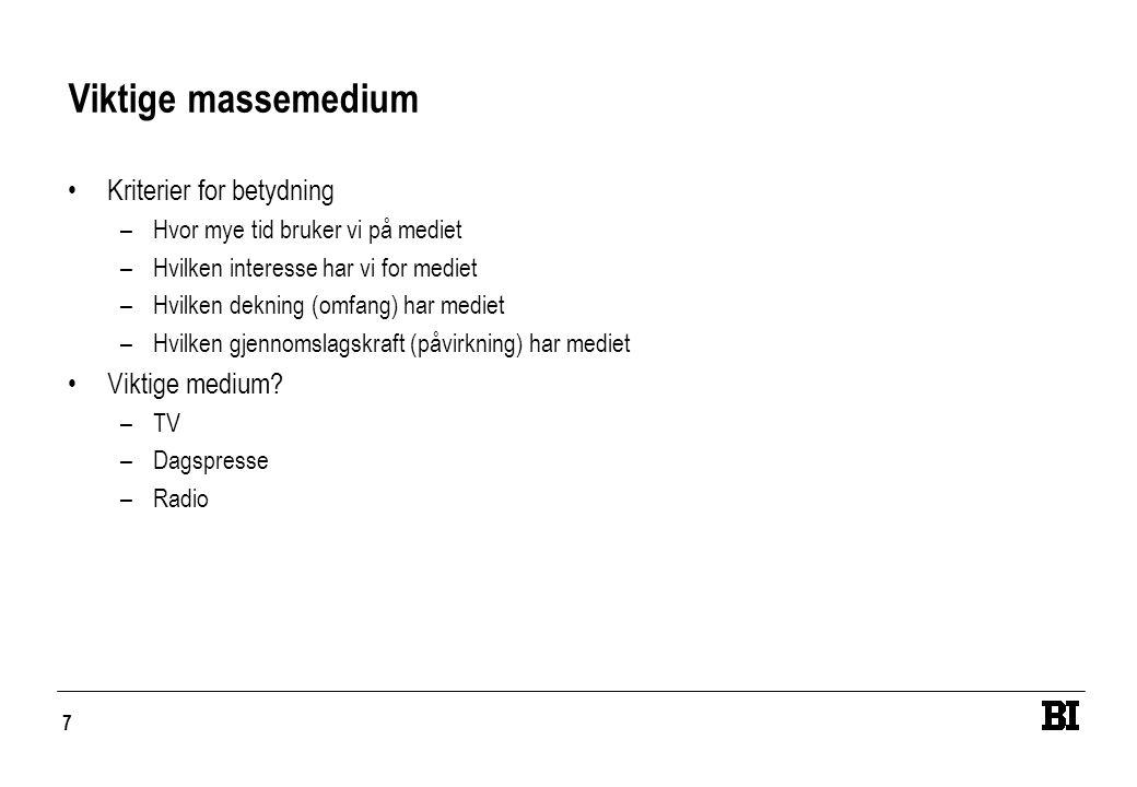 7 Viktige massemedium •Kriterier for betydning –Hvor mye tid bruker vi på mediet –Hvilken interesse har vi for mediet –Hvilken dekning (omfang) har me