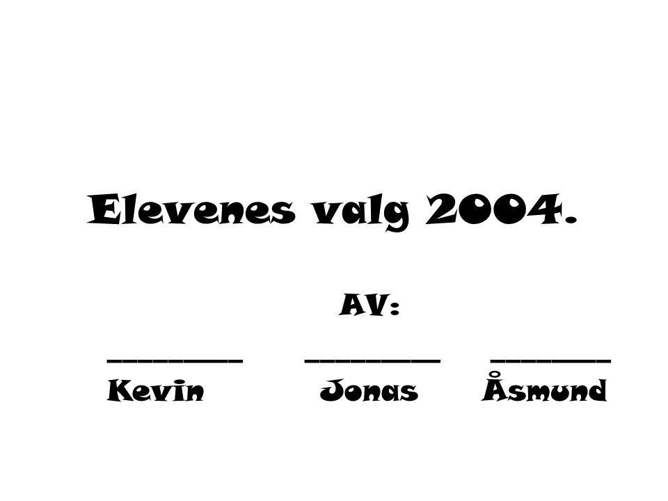 Elevenes valg 2004. AV: _________ ________ Kevin Jonas Åsmund