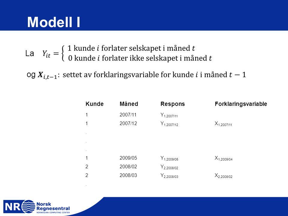 Modell I KundeMånedResponsForklaringsvariable 12007/11Y 1,2007/11 12007/12Y 1,2007/12 X 1,2007/11... 12009/05Y 1,2009/05 X 1,2009/04 22008/02Y 2,2008/