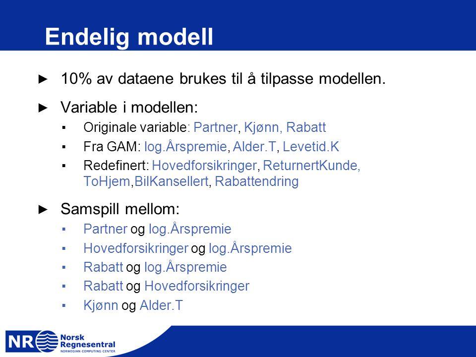 Endelig modell ► 10% av dataene brukes til å tilpasse modellen. ► Variable i modellen: ▪Originale variable: Partner, Kjønn, Rabatt ▪Fra GAM: log.Årspr